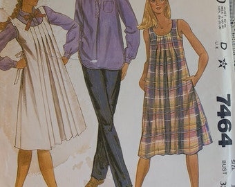 Misses Maturnity Pattern Mccalls 7464 Misses Maturnity Jumper Dress Skirt and Pants Pattern Misses size 10 Sleeveless Jumper or Dress UNCUT
