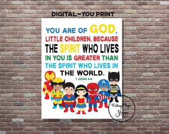 1 John 4:4, Childrens Superhero Scriptures,Kids Superhero Bible Verse Art, DIGITAL, YOU PRINT, Christian Superhero Decor,Superhero Scripture