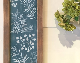 Painted Panel no.2, botanical art, farmhouse decor