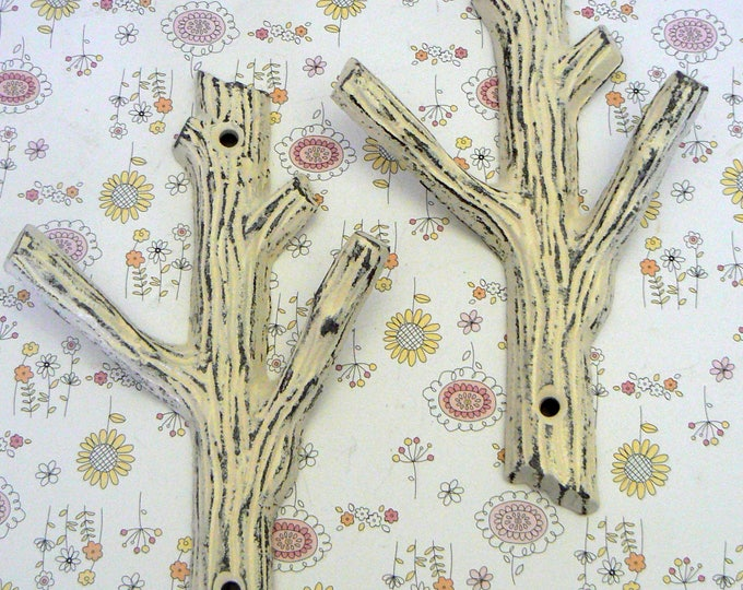 Tree Branch Wall Hook A Pair Set of 2 Shabby Chic Off White Hooks