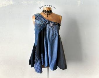 Eco Friendly Denim Up Cycle Clothing One Shoulder Bohemian Chic Shirt Grunge Clothes Gypsy Tank Fit Flare Tunic Women Sexy Top M L 'PAIGE'