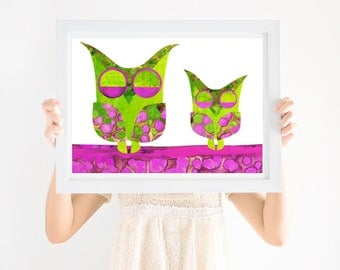Nursery Art Print Owls, Nursery, Printable Wall Art, Girls Nursery Art, Bird Art