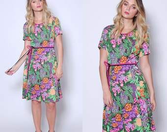 Vintage 60s FLORAL Mini Dress BRIGHT Printed Dress Belted Jungle Floral Dress