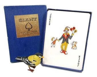Vintage Giant Playing Cards / British Hong Kong / Original Box / Complete Deck / 2 Jokers Ace of Spades / Game Toy / Paper Ephemera