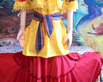 Mexican Blouse, Embroidered, Off shoulder, Yellow, Peasant blouse, osfm