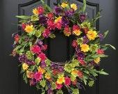 NEW Summer Door Decor, SUMMER Wreath for Front Door, Summer Flower Wreath, Spring/Summer Wreath, Dasiy Door Wreaths, Multi Colored Wreath