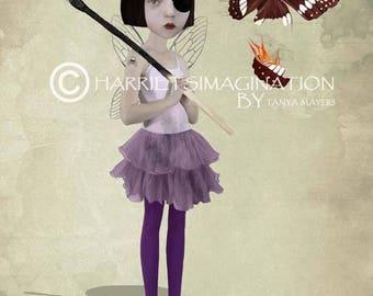 Lowbrow Art Print - Fire & Matchstick - Fire Fairy Art Print - Faerie Art - Wall Decor - Playing With Fire