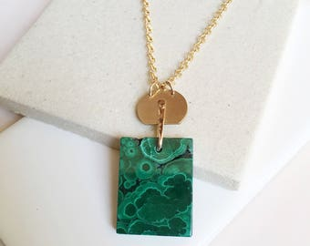 SALE. Malachite Pendant. Rectangle Stone Pendant. Long Gold Filled Chain. Long Pendant. Modern Necklace. Deep Green Stone. Long Chain.