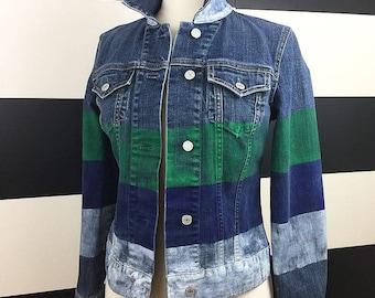 Painted Color Block UPCYCLED Denim Jacket, Size Small
