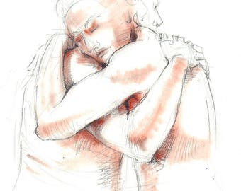 Nude pencil drawing with terracotta pastel. Life drawing embracing. Male & Female Nude, couple.  Art by Nancy Farmer. 2017-35