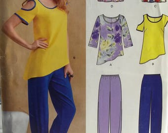 Misses' Tops and Bottoms New Look 0139 Sewing Pattern, Cold Shoulder Pullover Top, Round Neckline, Elastic Waist Pants Size 8 - 18 UNCUT