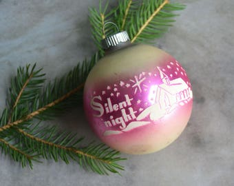 Vintage Pink Silent Night Christmas Ornament Shiny Brite