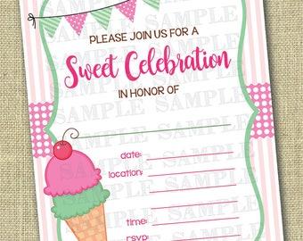 Ice Cream Invitation, Ice Cream Birthday Invitation, Ice Cream Party, Ice Cream Invites, Summer Birthday Invitation . Instant Download