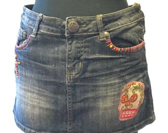 Upcycled altered denim miniskirt bohemian festival gypsy style