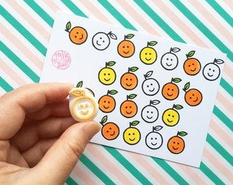 smiley orange rubber stamp. fruit hand carved stamp. teacher's stamp. planner decorations. diy thank you notes. gift for kids. school crafts