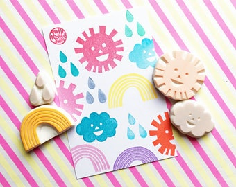 weather rubber stamps. sun cloud rainbow drop stamp. hand carved stamp. paper cut style. diy birthday baby shower. paper love. choose option