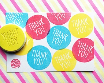 thank you stamp. circle hand carved rubber stamp. hand lettered message stamp. scrapbooking. gift wrapping. diy birthday wedding cards