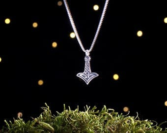 Sterling Silver Tiny Thor's Hammer Mjölnir - (Pendant, Necklace or Earrings)