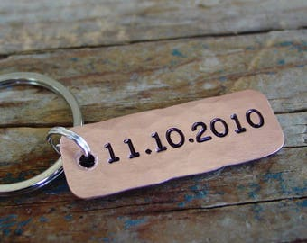 Date Keychain, Custom Hand Stamped, Personalized, Copper Keychain, Engagement Gift, Anniversary Gift, Wedding Date, Bride Groom Wedding Gift