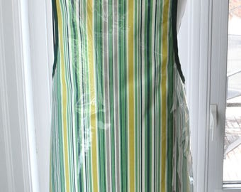 Awning Stripe Vinyl Apron - wipe clean and waterproof apron - fabric with clear vinyl covering
