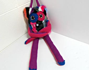 Handmade Monster Plush - OOAK Plush Monster Toy - Hand Embroidered Stuffed Monster - Colorful Bright  Multi Faux Fur - Cute and Weird Plush