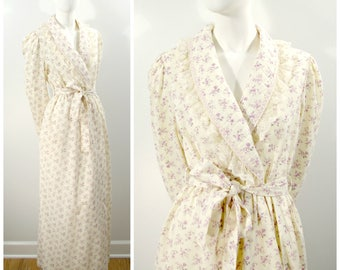 Vintage Floral Robe, Lilac Calico Print Light Weight Long Bath Robe, Wrap Front Gilligan OMalley Cotton Dressing Gown Summer Weight Robe