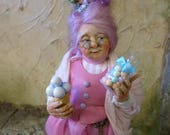 "orig. 1/12th miniature doll ""Rosa"", pink Candy witch by Silke Janas-Schloesser, OOAK"