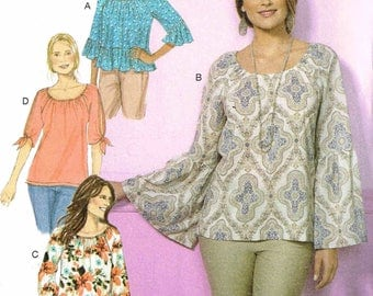 Pullover Loose Fitting Peasant Tunic Top Butterick 6455 Sewing Pattern Size XS S M L XL XXL 4 6 8 10 12 14 16 18 20 22 24 26