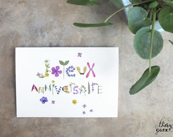 Happy Birthday herbarium pressed flower card, Flower lover, Vegetal card, Cute cards, Floral typography, Flower stationery