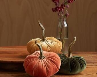 Scented Velvet Pumpkins, SET of 3:  Harvest orange, Mustard, Olive Green