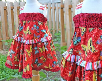Colorful Sparkling Butterfly Big Sister Little Sister Matching Sundresses Red Matching Sister Dresses in Infant, Toddler, Girl & Tween Sizes