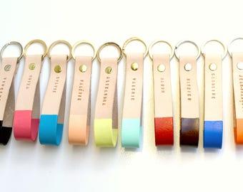 Personalized Leather Keychain, Key Fob, Custom Leather Keychain, Leather Lanyard, Stamped Leather Keychain, leather accessory, car key chain