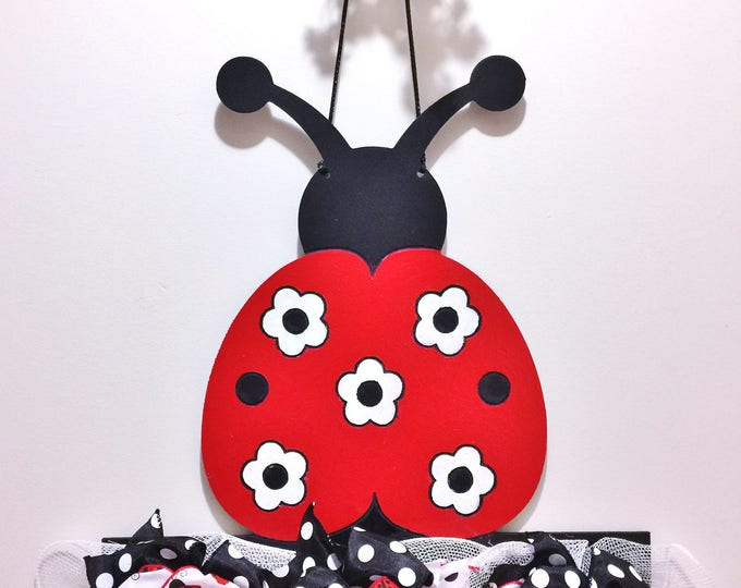 FREE SHIPPING Lady Bug Flowers Ribbon Black Red White  - Welcome Door Wreath Hanger