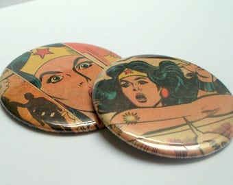 Wonder Woman Pocket Mirror Set of 2, Upcycled vintage Wonder Woman comic page Recycled into a Two Inch Pocket Mirror