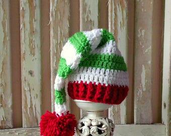 Christmas Elf Hat, Baby Elf Hat, Baby Christmas Hat, Crochet Elf Hat, Red & Green Striped Baby Hat, Crochet Baby Stocking Hat