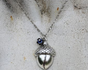 Silver Acorn Pendant Necklace , Antique Silver, Woodland Necklace, Sapphire Blue