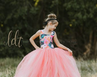 NEW! The ELIZABETH Gown in Coral Floral - Flower Girl Dress