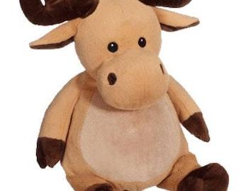 personalized baby gift, Moose personalized plush, stuffed plush, Mikey Moose kids personalized stuffed animal keepsake, baby gift, Em
