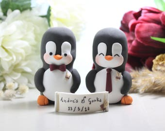 Same sex Penguin wedding cake toppers - personalized lesbian gay 2 brides or 2 grooms - homosexual wedding gift brown wheat ivory rustic