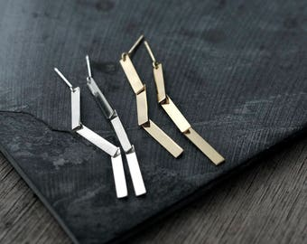 3 legged articulated silver or 18kt gold-plated earrings