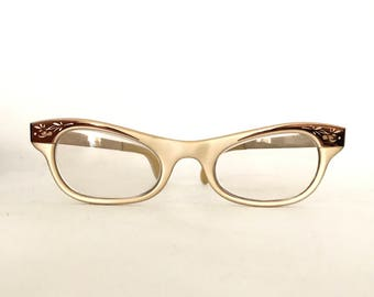 Rare Matte Finish CatEye Glasses Frame/ Gold tone Aluminum Metal and Glossy Red-Bronze Brow with Floral Motif. True Vintage 50s 60s Cat Eyes