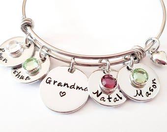 Personalized Grandma Bangle Bracelet - Hand Stamped Grandma Bracelet, Grandma Gift, Grandma Jewelry, Nana Bracelet, Custom Grandma Gift