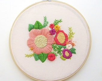 Floral embroidery art, Colorful hoop art, Nursery Art, Floral Nursery Decor, Pink Nursery Art, Embroidery Hoop Art, KimArt, Spring Wall Art