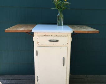 Vintage Wood Kitchen Cart on Wheels - White Porcelain Enamel Top w/ Collapsible Butcher Block Sides - Freestanding Country Storage Cabinet