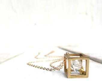Herkimer Diamond Necklace Geometric Cube Boho Necklace Gift for Her Crystal Pendant Gift for Him Rustic Modern April Birthstone