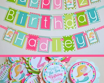 Under the Sea Mermaid Birthday Party Fully Assembled Decorations | Mermaid Party | Under the Sea Birthday | Mermaid Pink Green Aqua |