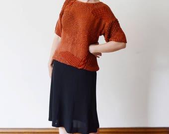 1980s Rust Hand Knit Sweater - M/L