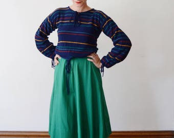 1970s Striped Blue Sweater - S/M