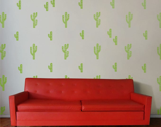 cactus pattern vinyl wall decal set
