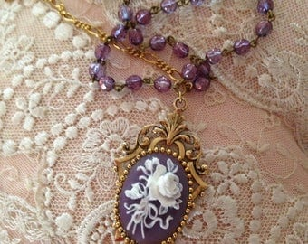 English Elegance Lavender Bisque Cameo Princess Statement Necklace